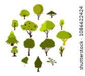 green tree icons set. flat... | Shutterstock .eps vector #1086622424