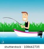 cartoon fishing man | Shutterstock .eps vector #108662735