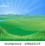 An idyllic rural landscape illustration with rolling green grass hills and a sun rising over mountains - stock photo
