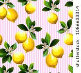 seamless lemon pattern on... | Shutterstock .eps vector #1086633314