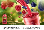berry blend juice with fresh... | Shutterstock .eps vector #1086640991