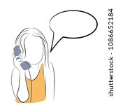 the girl is talking on the... | Shutterstock .eps vector #1086652184