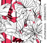 tropical  modern stripes motif. ... | Shutterstock .eps vector #1086654071
