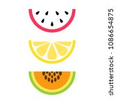 set of summer  tropical fruits  ... | Shutterstock .eps vector #1086654875