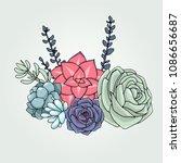 vector succulents floral... | Shutterstock .eps vector #1086656687