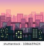 urban landscape flat design... | Shutterstock .eps vector #1086659624