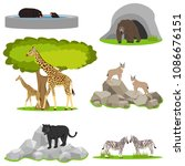 animals in the zoo  a menagerie ... | Shutterstock .eps vector #1086676151