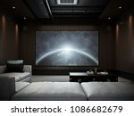 modern luxury home theater room ... | Shutterstock . vector #1086682679