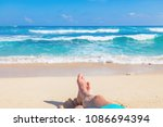 man lying and enjoying on a... | Shutterstock . vector #1086694394