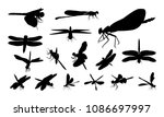 Stock vector set of various dragonfly silhouette vector animal sign and symbol 1086697997