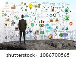 back view of young businessman... | Shutterstock . vector #1086700565