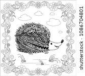 zentangle style monochrome... | Shutterstock .eps vector #1086704801