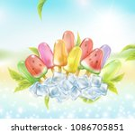 ice lolly sunny summer time... | Shutterstock .eps vector #1086705851