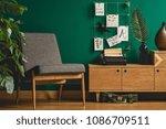 grey armchair  wooden cupboard  ...   Shutterstock . vector #1086709511