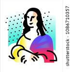 illustration of the mona lisa.... | Shutterstock .eps vector #1086710357