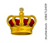 golden monarch crown with red... | Shutterstock .eps vector #1086713459