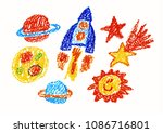 space ship  rocket  moon  sun ... | Shutterstock . vector #1086716801