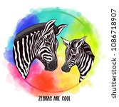 background with zebra mother... | Shutterstock .eps vector #1086718907