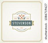 restaurant logo design vector... | Shutterstock .eps vector #1086719627
