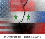 usa  russia  and syria flag on... | Shutterstock . vector #1086721349