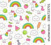 cute unicorn and food elements... | Shutterstock .eps vector #1086723701