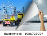 woman hand turning old industry ... | Shutterstock . vector #1086729029