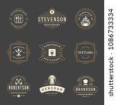 restaurant logos design... | Shutterstock .eps vector #1086733334