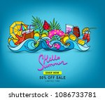 vector doodles hand drawn on a... | Shutterstock .eps vector #1086733781
