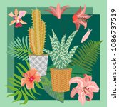 tropical succulent garden. silk ... | Shutterstock .eps vector #1086737519
