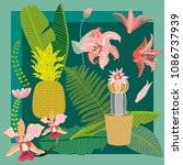 tropical succulent garden. silk ... | Shutterstock .eps vector #1086737939
