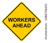 workers ahead warning sign ... | Shutterstock .eps vector #1086746651