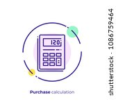 line art budget calculator.... | Shutterstock .eps vector #1086759464