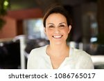 confident and smiling woman ... | Shutterstock . vector #1086765017