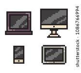 pixel art phone  laptop  tablet ... | Shutterstock .eps vector #1086766994