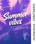 music tropical poster design.... | Shutterstock .eps vector #1086768401