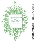vector floral design card with... | Shutterstock .eps vector #1086777011