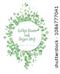 herbal wedding invitation ... | Shutterstock .eps vector #1086777041