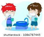 cute boy brush teeth  wash your ... | Shutterstock .eps vector #1086787445