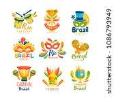 brazilian carnival logo design... | Shutterstock .eps vector #1086793949