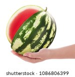 Small photo of Ripe cut watermelon without ossicle on hand isolated on white background. Clipping Path. Full depth of field.