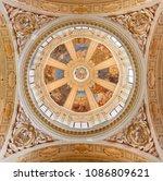 Small photo of REGGIO EMILIA, ITALY - APRIL 13, 2018: The cupola in church Chiesa di San Pietro with the frescoes by Anselmo Govi (1939).
