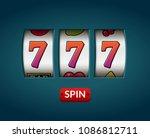 lucky seven 777 slot machine....   Shutterstock .eps vector #1086812711