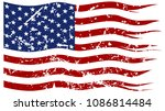 a ripped and torn american flag ... | Shutterstock .eps vector #1086814484