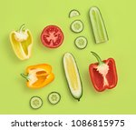 vegetables layout. pepper...   Shutterstock . vector #1086815975