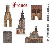 france famous landmark... | Shutterstock .eps vector #1086818639