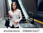 business woman she is going to... | Shutterstock . vector #1086821627