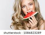 beautiful blonde young model ... | Shutterstock . vector #1086823289