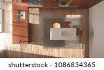 top view  modern minimalistic...   Shutterstock . vector #1086834365