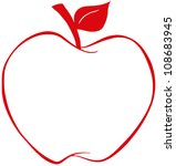 Apple With Red Outline .vector...