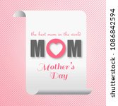 mothers day typogrpahic card... | Shutterstock .eps vector #1086842594